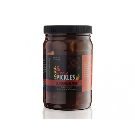 Sweet and Sassy Pickles with Carolina Reaper Chiles